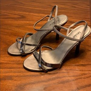 Pewter-colored dress sandals